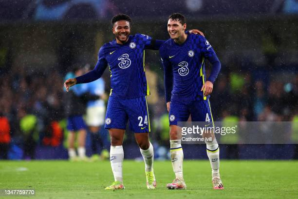 Reece James of Chelsea celebrates with teammate Andreas Christensen at full-time after the UEFA Champions League group H match between Chelsea FC and...