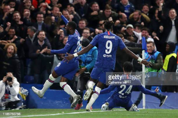 Reece James of Chelsea celebrates with teammates after scoring his team's fourth goal during the UEFA Champions League group H match between Chelsea...