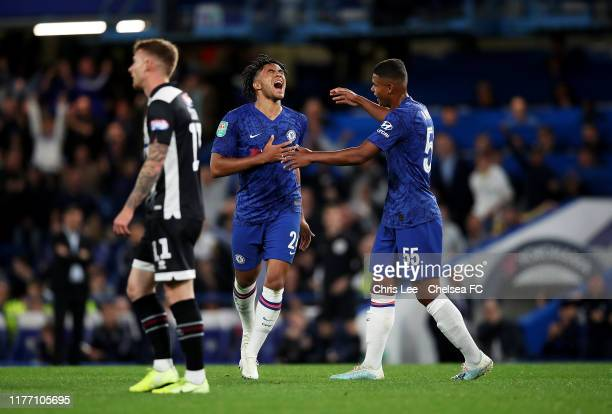 Reece James of Chelsea celebrates with Tino Anjorin of Chelsea after he scores his sides 5th goal during the Carabao Cup Third Round match between...