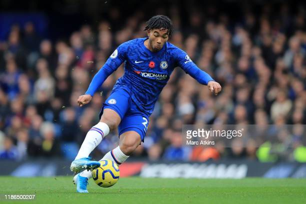 Reece James of Chelsea controls the ball during the Premier League match between Chelsea FC and Crystal Palace at Stamford Bridge on November 09 2019...