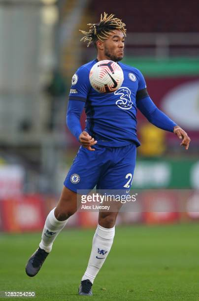 Reece James of Chelsea controls the ball during the Premier League match between Burnley and Chelsea at Turf Moor on October 31 2020 in Burnley...