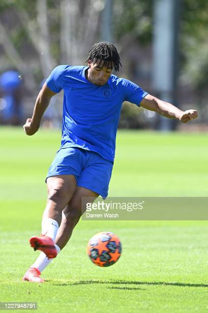 Reece James of Chelsea during a training session at Chelsea Training Ground on August 7 2020 in Cobham England
