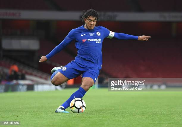 Reece James of Chelsea during the Arsenal v Chelsea FA Youth Cup Final Second Leg at Emirates Stadium on April 30 2018 in London England