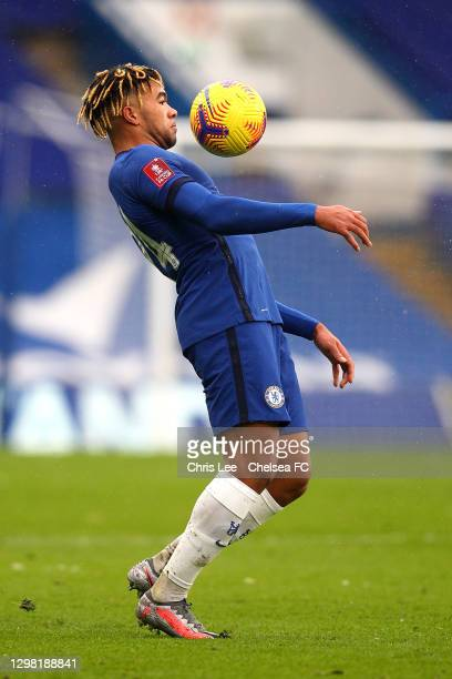 Reece James of Chelsea during The Emirates FA Cup Fourth Round match between Chelsea and Luton Town at Stamford Bridge on January 24, 2021 in London,...