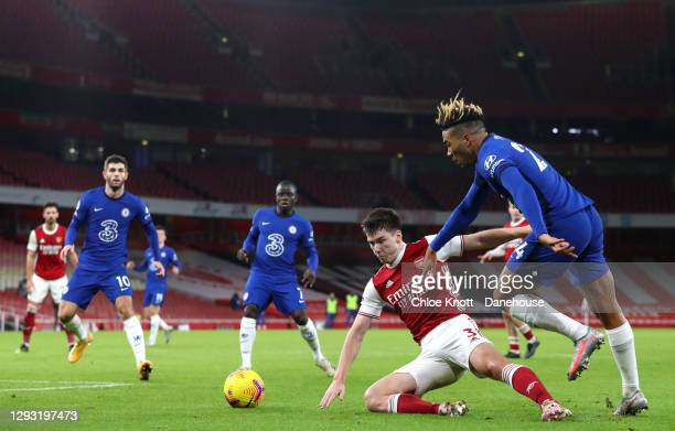 Reece James of Chelsea FC fouls Kieran Tierney of Arsenal resulting in a penalty during the Premier League match between Arsenal and Chelsea at...