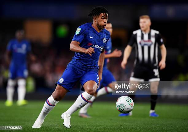 Reece James of Chelsea in action during the Carabao Cup Third Round match between Chelsea FC and Grimsby Town at Stamford Bridge on September 25 2019...