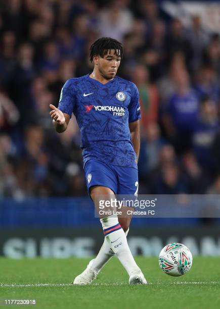 Reece James of Chelsea in action during the Carabao Cup Third Round match between Chelsea and Grimsby Town at Stamford Bridge on September 25 2019 in...
