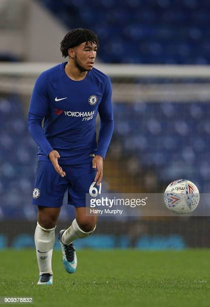 Reece James of Chelsea in action during the Checkatrade Trophy quarter final match between Chelsea U21 and Oxford United at Stamford Bridge on...
