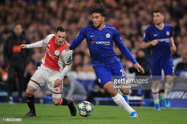 Reece James of Chelsea in action with Nicolas Tagliafico of AFC Ajax during the UEFA Champions League group H match between Chelsea FC and AFC Ajax...
