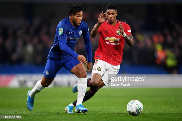 Reece James of Chelsea is challenged by Marcus Rashford of Manchester United during the Carabao Cup Round of 16 match between Chelsea and Manchester...