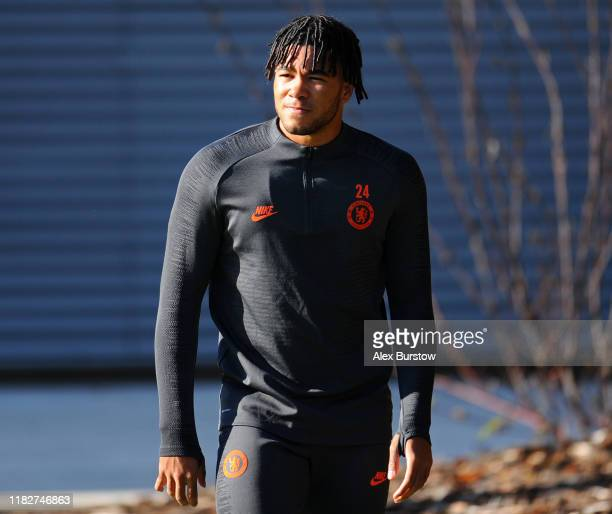 Reece James of Chelsea looks on as he walks out prior to the Chelsea FC training session on the eve of the UEFA Champions League match between Ajax...