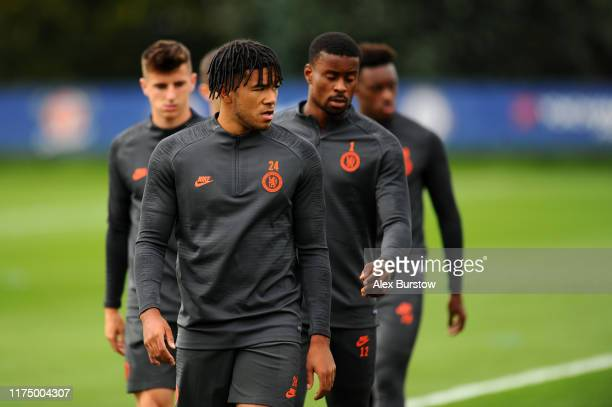 Reece James of Chelsea looks on during the Chelsea FC training session on the eve of the UEFA Champions League match between Chelsea FC and Valencia...