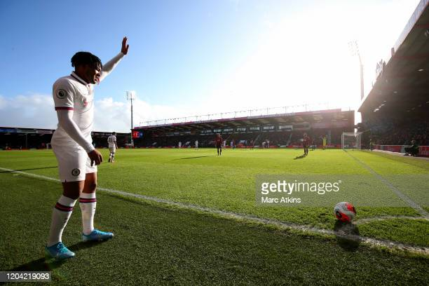 Reece James of Chelsea raises his hand as he takes a corner during the Premier League match between AFC Bournemouth and Chelsea FC at Vitality...