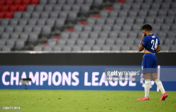 Reece James of Chelsea reacts after the UEFA Champions League round of 16 second leg match between FC Bayern Muenchen and Chelsea FC at Allianz Arena...