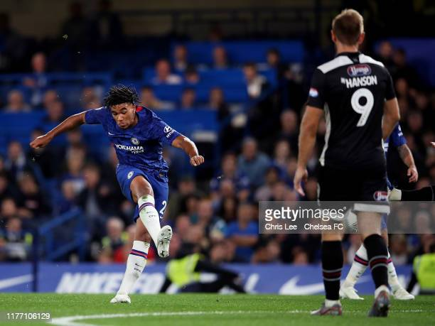 Reece James of Chelsea scores his sides 5th goal during the Carabao Cup Third Round match between Chelsea FC and Grimsby Town at Stamford Bridge on...