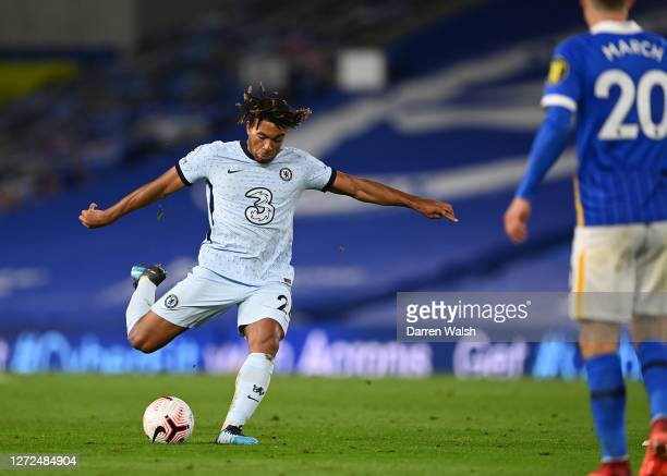 Reece James of Chelsea scores his sides second goal during the Premier League match between Brighton & Hove Albion and Chelsea at American Express...