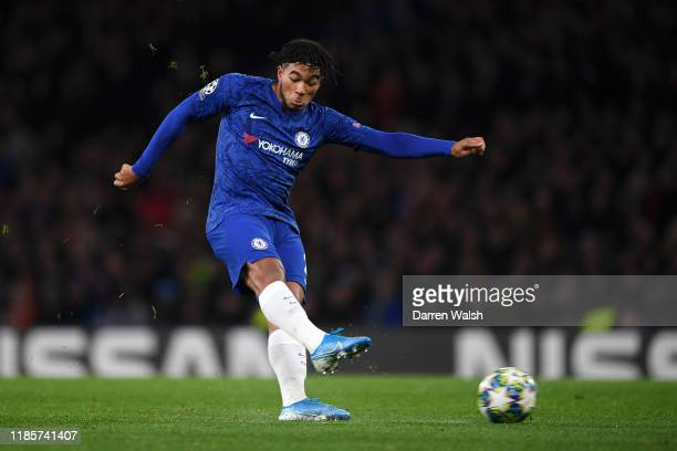Reece James of Chelsea shoots during the UEFA Champions League group H match between Chelsea FC and AFC Ajax at Stamford Bridge on November 05 2019...
