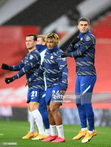Reece James of Chelsea warms up prior to the Premier League match between Manchester United and Chelsea at Old Trafford on October 24 2020 in...