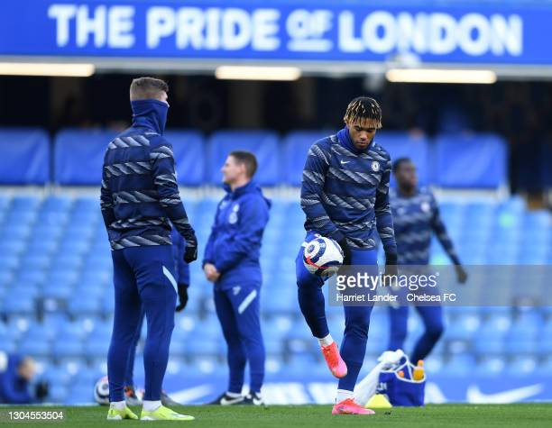 Reece James of Chelsea warms up prior to the Premier League match between Chelsea and Manchester United at Stamford Bridge on February 28, 2021 in...