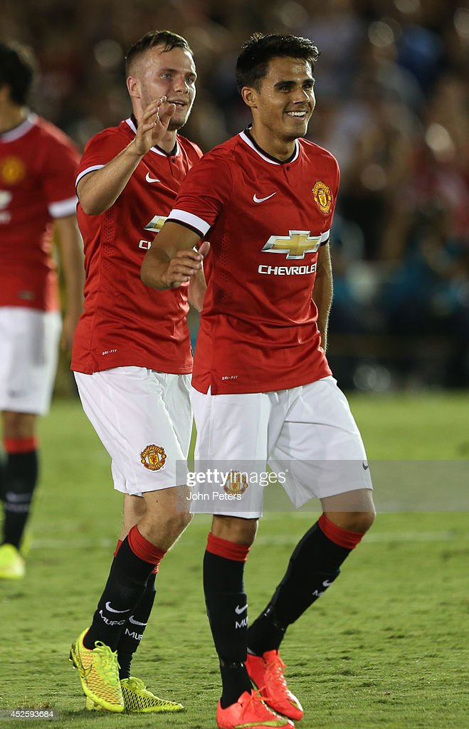 Reece James of Manchester United celebrates scoring their fifth goal during the pre-season friendly match between Los Angeles Galaxy and Manchester United at Rose Bowl on July 23, 2014 in Pasadena, California.