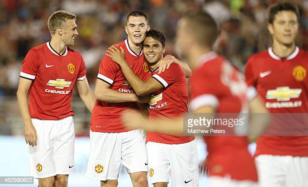 Reece James of Manchester United celebrates scoring their fourth goal during the preseason friendly match between Los Angeles Galaxy and Manchester...