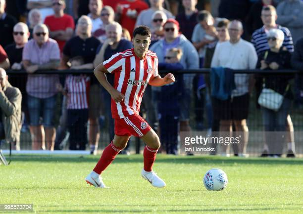 Reece James of Sunderland controls the ball during a preseason friendly game between Darlington FC and Sunderland AFC at Blackwell Meadows on July 10...