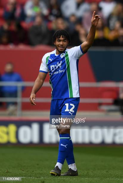 Reece James of Wigan Athletic celebrates after scoring his sides first goal during the Sky Bet Championship match between Bristol City and Wigan...