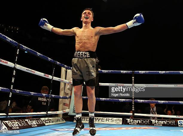 Reece Mould celebrates beating Phil Hervey during their Featherweight fight at First Direct Arena on April 16, 2016 in Leeds, England.