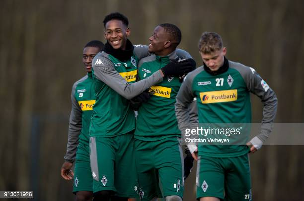 Reece Oxford and Denis Zakaria during a training session of Borussia Moenchengladbach at BorussiaPark on February 01 2018 in Moenchengladbach Germany