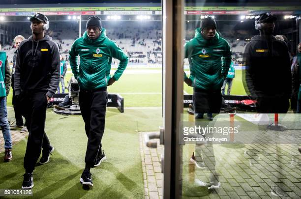 Reece Oxford and Denis Zakaria of Borussia Moenchengladbach is seen ahead of the Bundesliga match between SC Freiburg and Borussia Moenchengladbach...