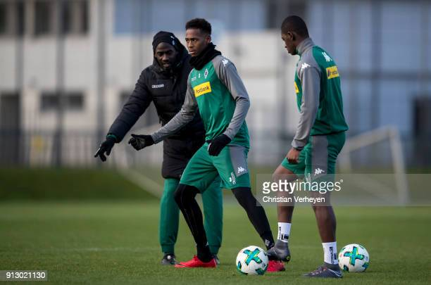 Reece Oxford and Mamadou Doucoure during a training session of Borussia Moenchengladbach at BorussiaPark on February 01 2018 in Moenchengladbach...