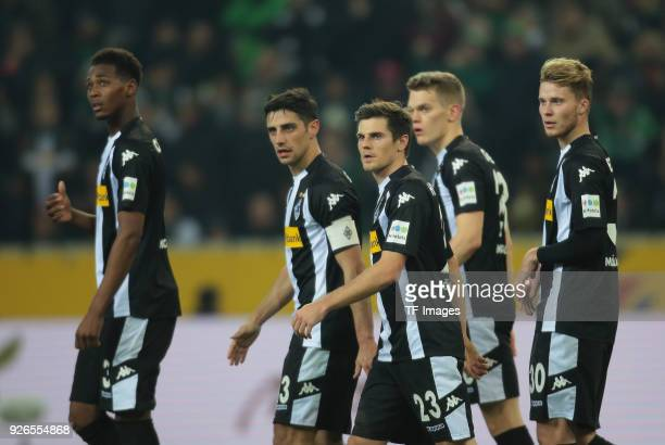 Reece Oxford of Moenchengladbach Lars Stindl of Moenchengladbach Jonas Hofmann of Moenchengladbach Matthias Ginter of Moenchengladbach and Nico...