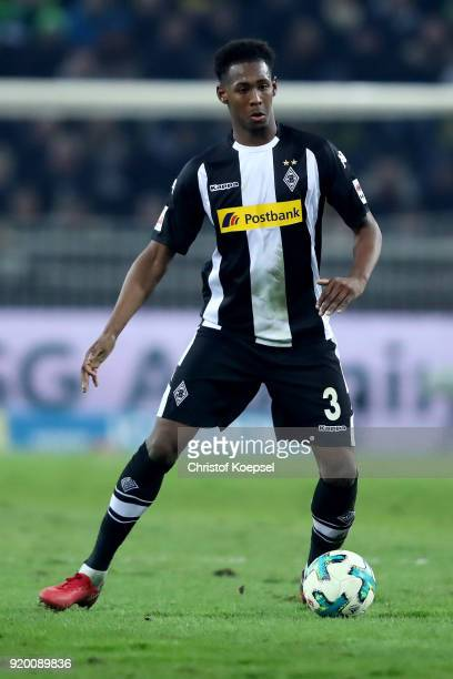 Reece Oxford of Moenchengladbach runs with the ball during the Bundesliga match between Borussia Moenchengladbach and Borussia Dortmund at...