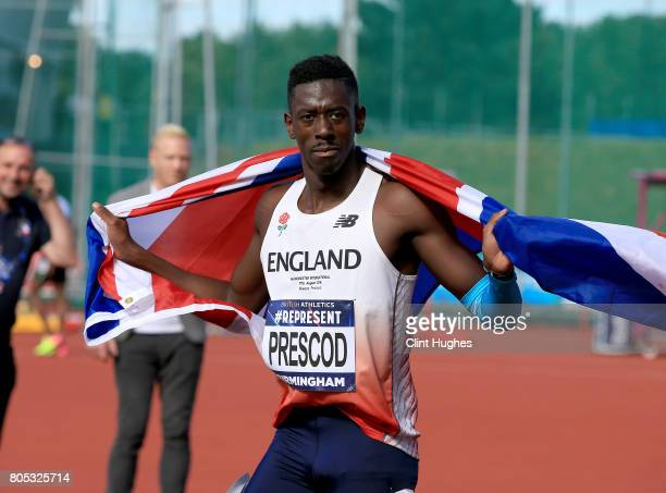 Reece Prescod celebrates after he wins the men's 100 metres final during the British Athletics World Championships Team Trials at Birmingham...
