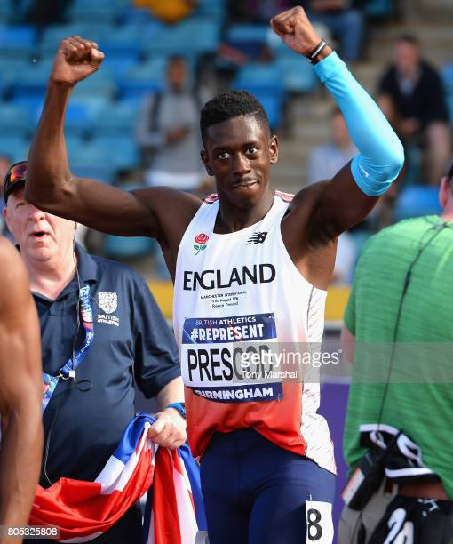 Reece Prescod celebrates after winning the Mens 100m Final during the British Athletics World Championships Team Trials Day One at Birmingham...