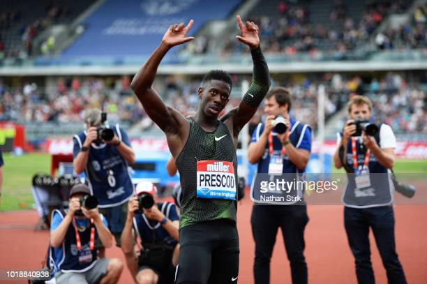 Reece Prescod of Great Britain applauds the crowd during the IAAF Diamond League 2018 Muller Grand Prix at the Alexander Stadium on August 18 2018 in...