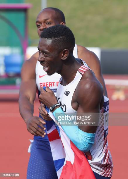 Reece Prescod of Great Britain celebrates winning the Mens 100m Final with James Dasaolu during Day One British Athletics World Championships Team...