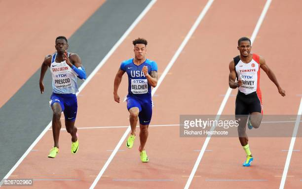Reece Prescod of Great Britain Christopher Belcher of the United States and Jak Ali Harvey of Turkey during day two of the 16th IAAF World Athletics...