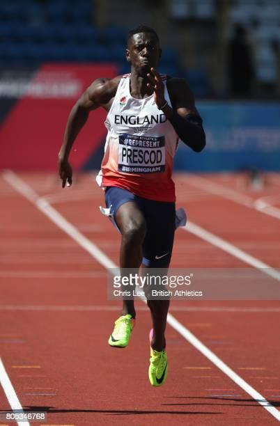 Reece Prescod of Great Britain in the Mens 100m Semi Final during Day One British Athletics World Championships Team Trials at Birmingham Alexander...