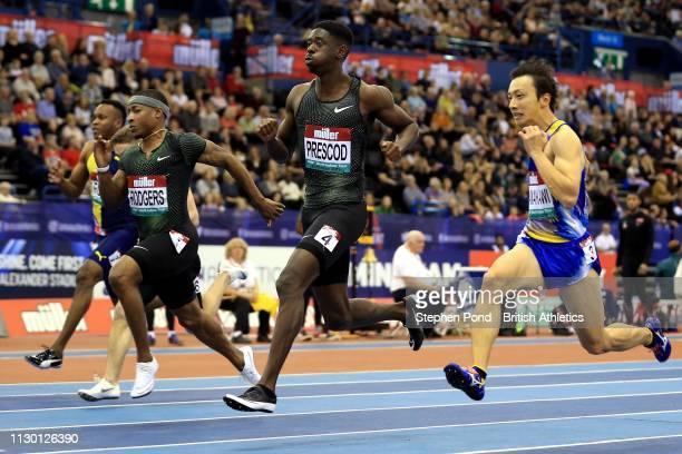 Reece Prescod of Great Britain in the Men's 60m heats during the Muller Indoor Grand Prix IAAF World Indoor Tour event at Arena Birmingham on...