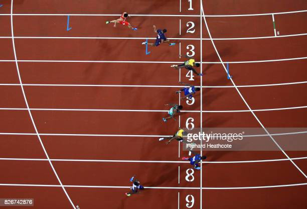 Reece Prescod of Great Britain Justin Gatlin of the United States Yohan Blake of Jamaica Akani Simbine of South Africa Christian Coleman of the...