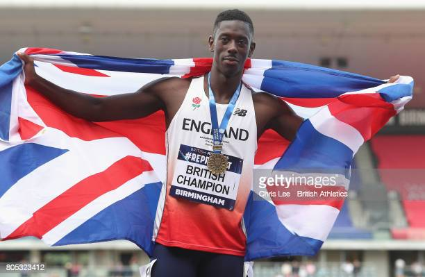 Reece Prescod of Great Britain poses for the camera with his gold medal for the Mens 100m during Day One British Athletics World Championships Team...