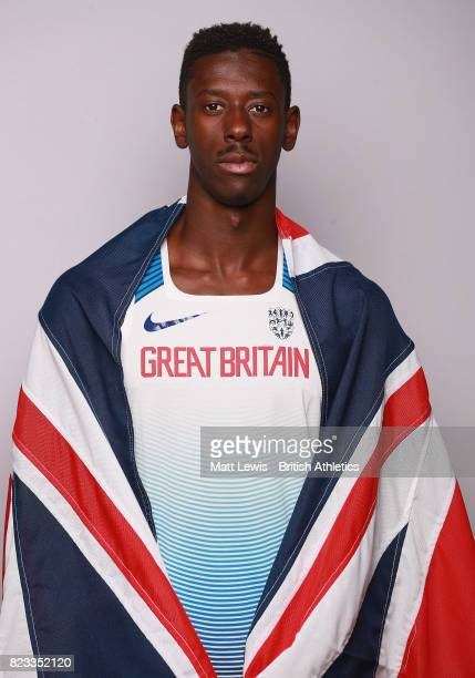 Reece Prescod of the British Athletics team poses for a portrait / trains during the British Athletics Team World Championships Preparation Camp on...