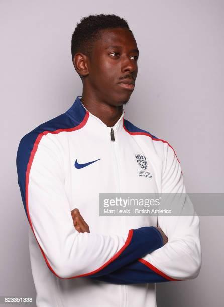 Reece Prescod of the British Athletics team poses for a portrait during the British Athletics Team World Championships Preparation Camp on July 26...