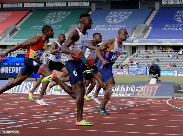 Reece Prescod wins the men's 100 metres final during the British Athletics World Championships Team Trials at Birmingham Alexander Stadium on July 1...