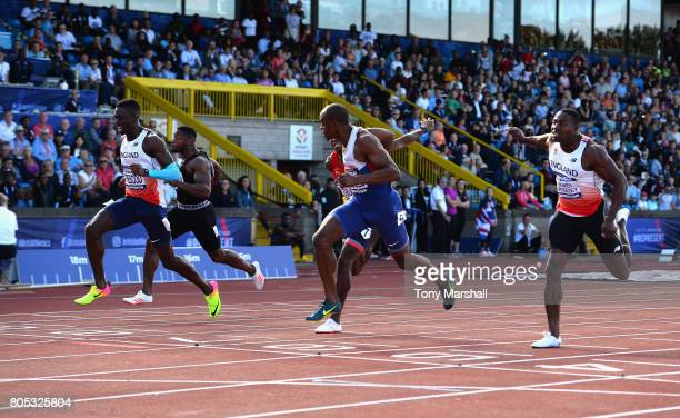 Reece Prescod wins the Mens 100m Final from James Dasaolu during the British Athletics World Championships Team Trials Day One at Birmingham...