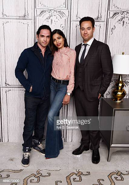 Reece Ritchie Freida Pinto and Richard Raymond attend the AOL BUILD Speaker Series with the cast of 'Desert Dancer' at AOL Studios on April 9 2015 in...