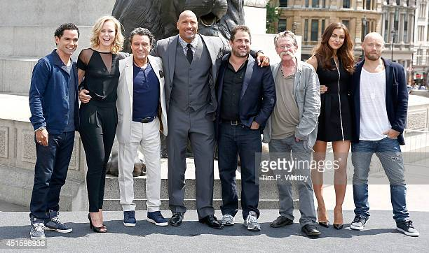 Reece Ritchie Ingrid Bolso Berdal Ian McShane Dwayne Johnson Brett Ratner John Hurt Irina Shayk and Aksel Hennie attend a photocall for 'Hercules' at...