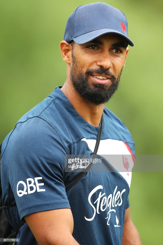 Reece Robinson arrives for a Sydney Roosters NRL training session at Kippax Lake on March 5, 2018 in Sydney, Australia.