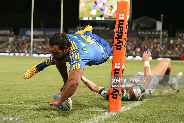 Reece Robinson of the Eels scores a try during the round four NRL match between the Parramatta Eels and the South Sydney Rabbitohs at Pirtek Stadium...